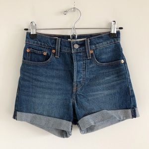 Levi's Wedgie Blue Cuffed Short Button Fly 24